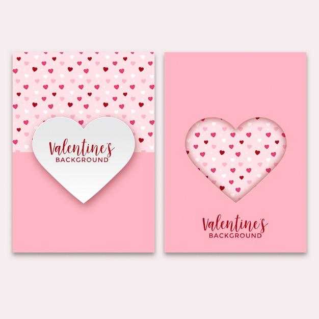 Zestaw Kart Okolicznościowych Walentynki Premium Wektorów