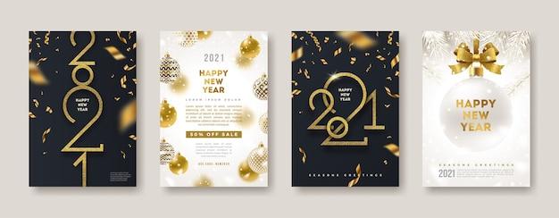 Zestaw Kart Okolicznościowych Z Logo Złotego Nowego Roku. Może Służyć Jako Okładka, Ulotka Lub Plakat. Premium Wektorów