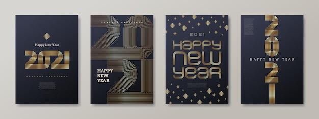 Zestaw Kart Okolicznościowych Z Logo Złotego Nowego Roku. Nowy Rok Złoty Znak, Ilustracja. Premium Wektorów