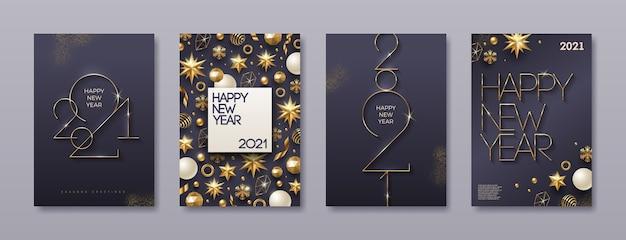 Zestaw Kart Okolicznościowych Z Logo Złotego Nowego Roku. Tło Z Wystrojem Bożego Narodzenia. Premium Wektorów