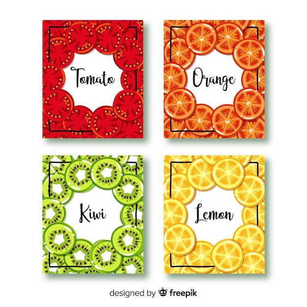 Zestaw kart owoców wyciągnąć rękę Darmowych Wektorów