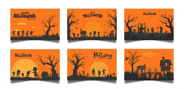 Zestaw kart pomarańczowy halloween Premium Wektorów