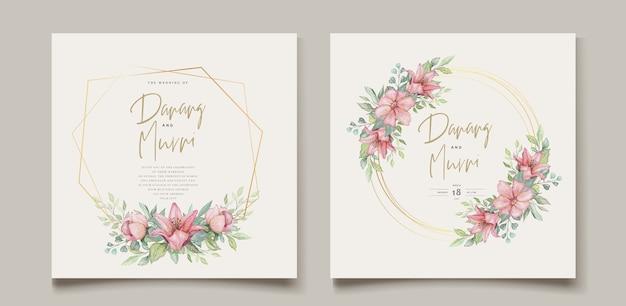 Zestaw Kart ślubnych Akwarela Kwiatowy Element Darmowych Wektorów