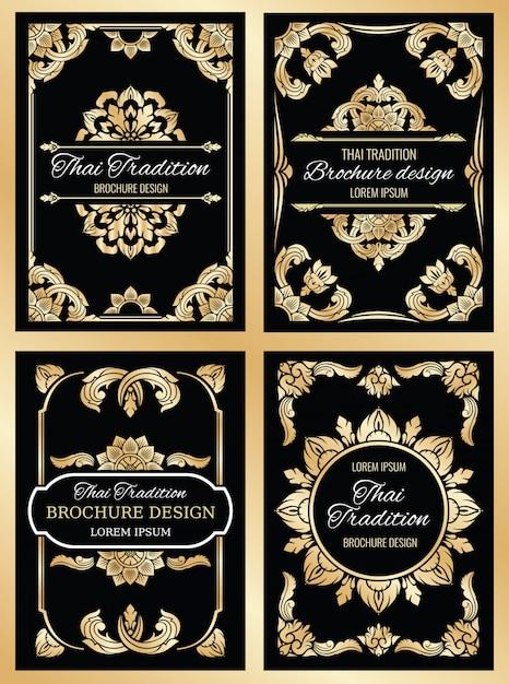 Zestaw kart ślubnych tajlandii z kwiecistymi ramkami w stylu tajskim i obramowaniami Premium Wektorów