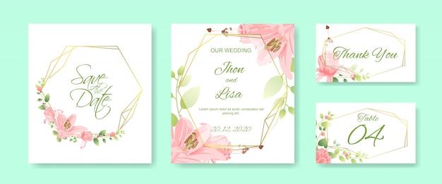 Zestaw kart ślubnych z pięknym kwiatkiem Premium Wektorów