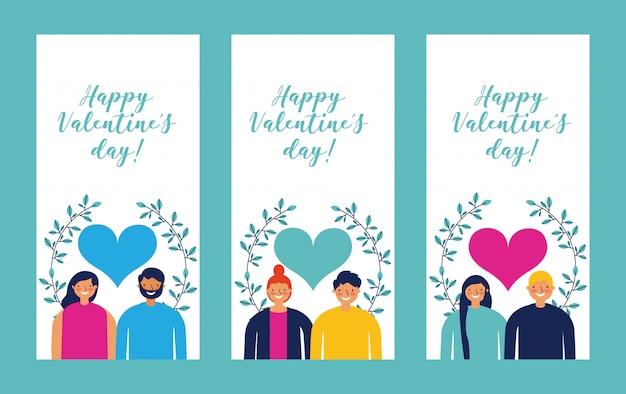 Zestaw kart szczęśliwy walentynki Darmowych Wektorów