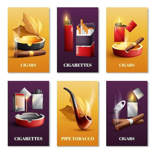 Zestaw kart wyrobów tytoniowych Darmowych Wektorów