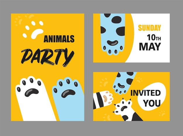 Zestaw Kart Zaproszenie Na Przyjęcie Zwierząt. Darmowych Wektorów