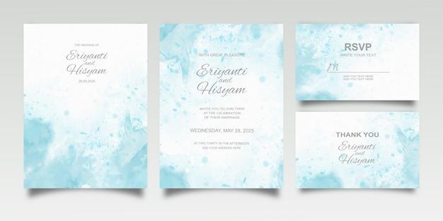 Zestaw Kart Zaproszenie Na ślub Akwarela Premium Wektorów
