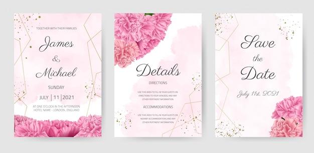 Zestaw Kart Zaproszenie Na ślub Goździk Różowy Kwiat Piękny Kwiatowy Szablon Premium Wektorów