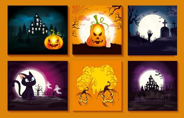 Zestaw kart ze scenami halloween Darmowych Wektorów
