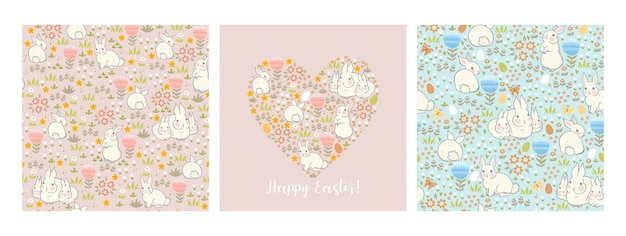 Zestaw Kartek I Wzorów Wielkanocnych Z Zajączkami I Wiosenną Roślinnością. Premium Wektorów