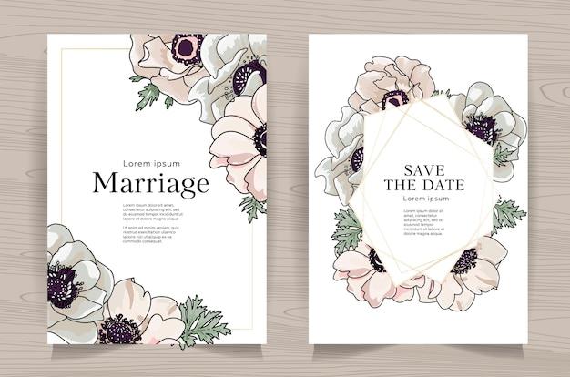 Zestaw Kartek ślubnych Z Ręcznie Rysowane Anemon Premium Wektorów