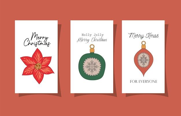 Zestaw Kartek świątecznych Na Czerwonym Ilustracji Projektu Premium Wektorów