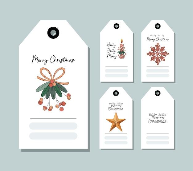 Zestaw Kartek świątecznych Na Niebieskim Ilustracji Projektu Premium Wektorów