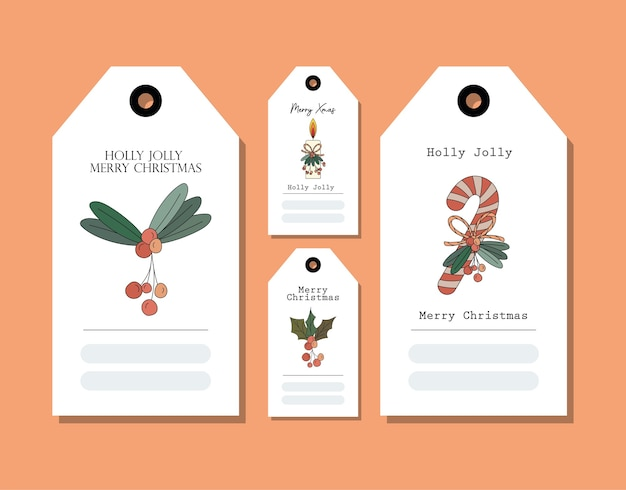 Zestaw Kartek świątecznych Na Pomarańczowym Projekcie Ilustracji Premium Wektorów