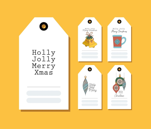 Zestaw Kartek świątecznych Na żółtym Ilustracji Projektu Premium Wektorów