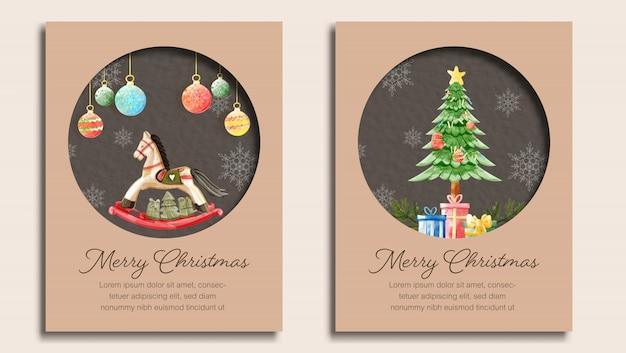 Zestaw kartek świątecznych Premium Wektorów