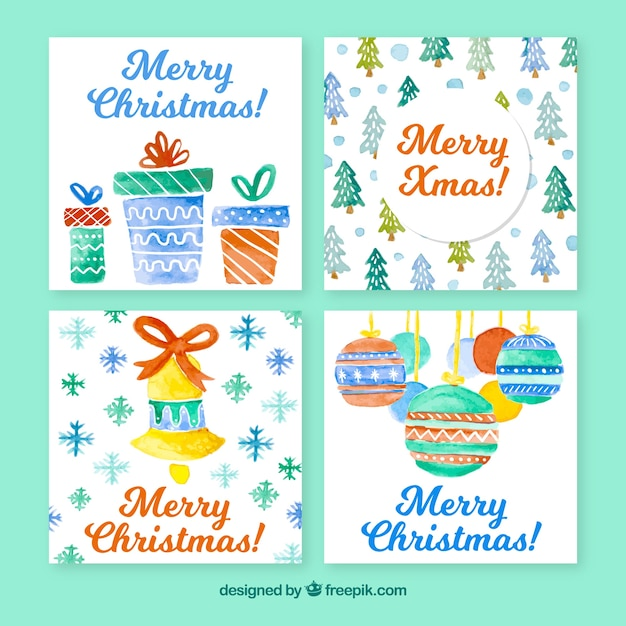 Zestaw Kartki świąteczne Akwarele Darmowych Wektorów