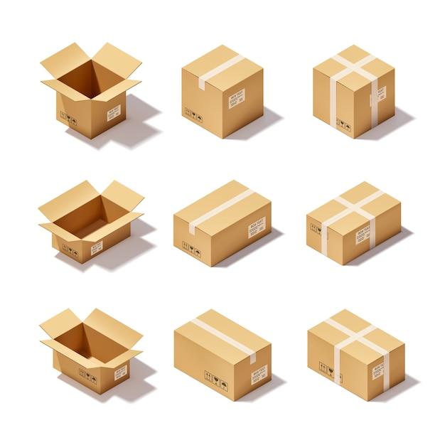 Zestaw kartonowych pudeł Darmowych Wektorów