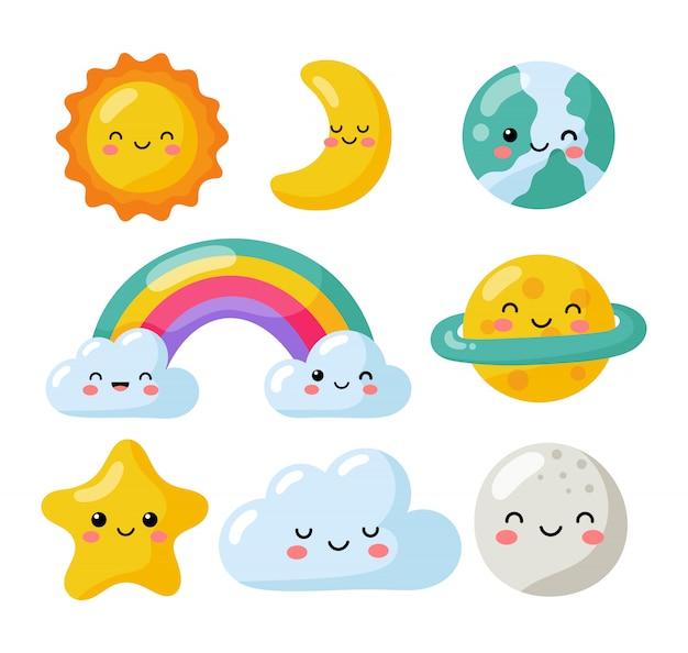 Zestaw Kawaii Gwiazd, Księżyc, Słońce, Tęcza I Chmury Na Białym Tle. Słodkie Pastelowe Kolory Dla Dzieci. Premium Wektorów
