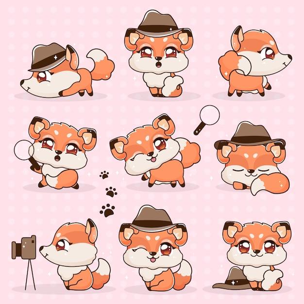 Zestaw kawaii kolekcja fantasy little fox cartoon. Premium Wektorów