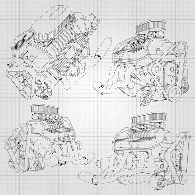 Zestaw kilku rodzajów potężnego silnika samochodowego. silnik jest rysowany czarnymi liniami na białym prześcieradle w klatce Premium Wektorów