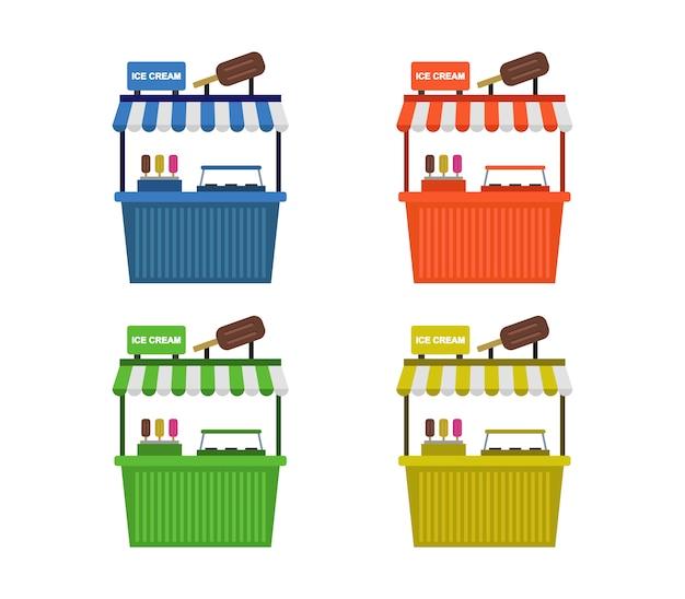 Zestaw Kiosków Z Lodami Premium Wektorów