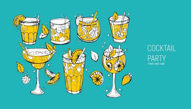 Zestaw klasycznych koktajli alkoholowych. Premium Wektorów