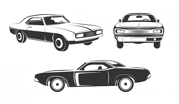 Zestaw klasycznych samochodów retro muscle Premium Wektorów