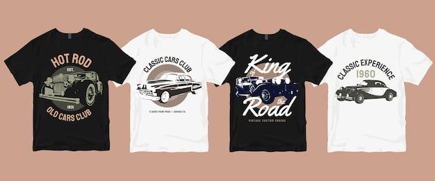 Zestaw Klasycznych Starych Koszulek Samochodowych Premium Wektorów
