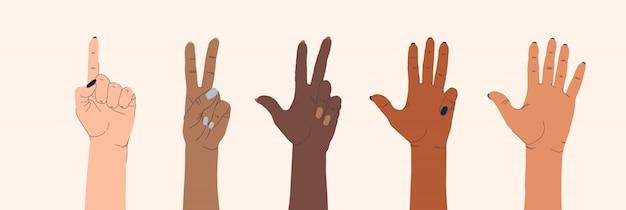Zestaw Kobiecych Rąk Różnych Narodowości I Gestów Na Na Białym Tle. Premium Wektorów