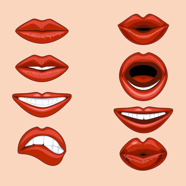 Zestaw kobiecych ust wyrażających różne emocje w komiksowym stylu. Premium Wektorów