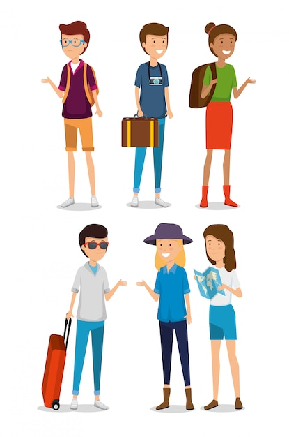 Zestaw Kobiet I Mężczyzn Turystycznych Z Podróżowaniem Bagażu Darmowych Wektorów