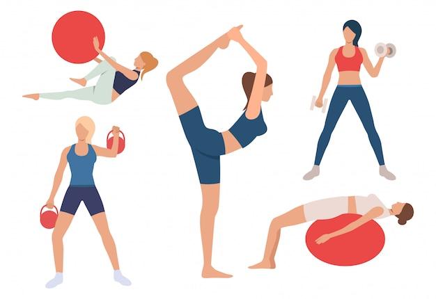 Zestaw kobiet szkolenia ciała w siłowni. dziewczyny ćwiczące z piłką Darmowych Wektorów