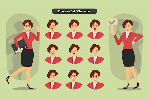 Zestaw Kobieta Biznesu Różne Wyrazy Twarzy. Premium Wektorów