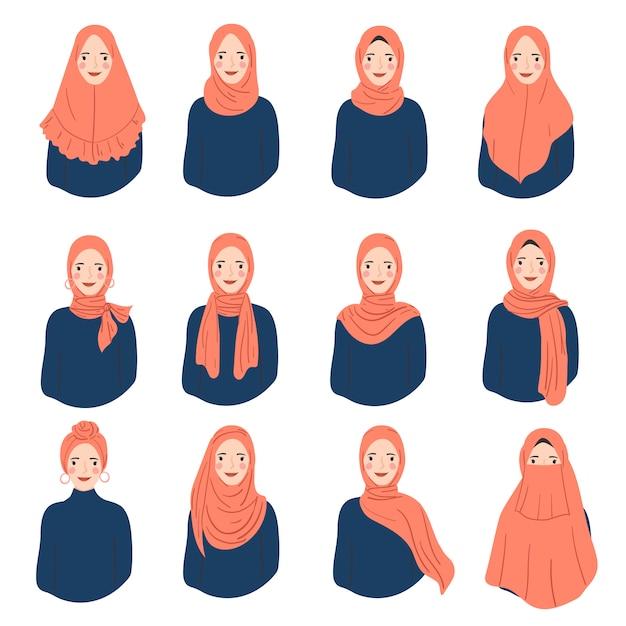 Zestaw Kobiety Noszą Hidżab Modny Styl. Różne Awatary Postaci Kobiet. Premium Wektorów