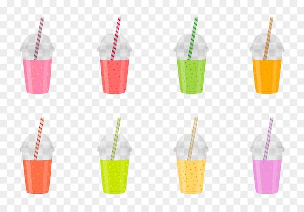 Zestaw Koktajli Owocowych W Plastikowych Szklankach. Zdrowy świeży Sok. Napoje Z Menu. Premium Wektorów
