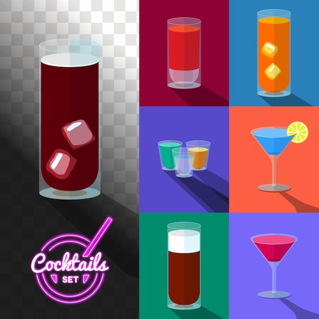 Zestaw koktajli w przezroczystych szklankach Premium Wektorów