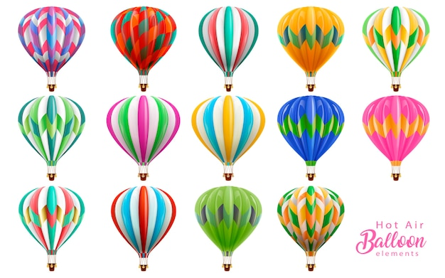 Zestaw Kolekcja Balonów Na Ogrzane Powietrze, Kolorowe Balony Na Ilustracji Na Białym Tle Premium Wektorów