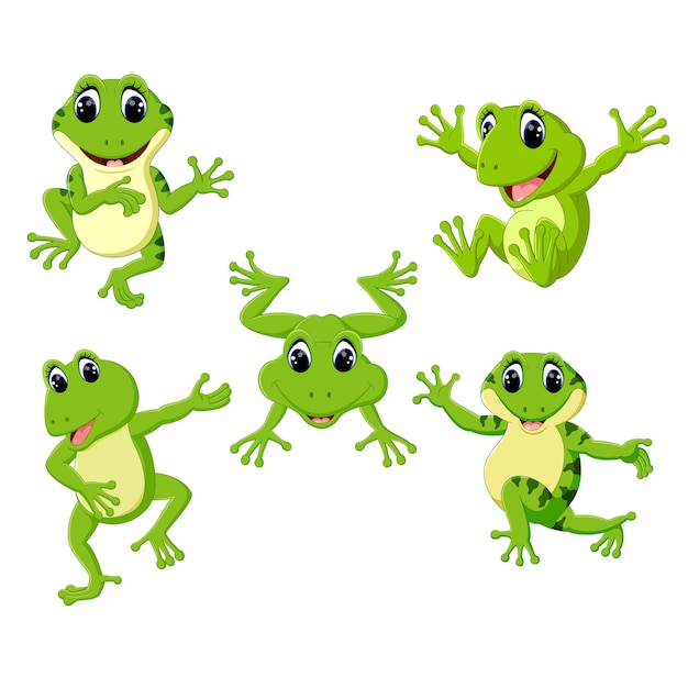Zestaw Kolekcja Cute Frog Cartoon Premium Wektorów