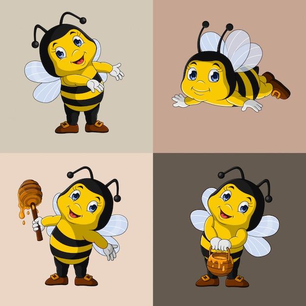 Zestaw Kolekcja Kreskówka Pszczoły Miodnej Premium Wektorów