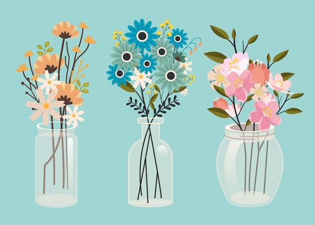 Zestaw Kolekcja Kwiatów W Opakowaniu Słoika W Płaskiej Sztuce Wektorowej. Premium Wektorów
