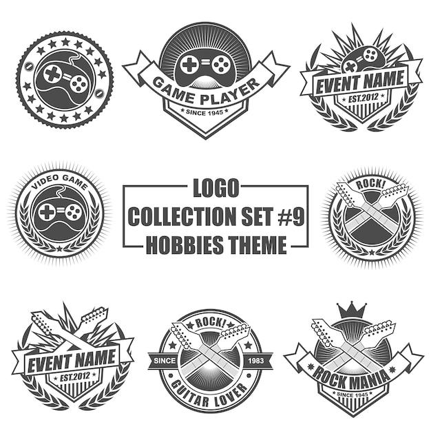 Zestaw Kolekcja Logo Z Motywem Hobby Premium Wektorów