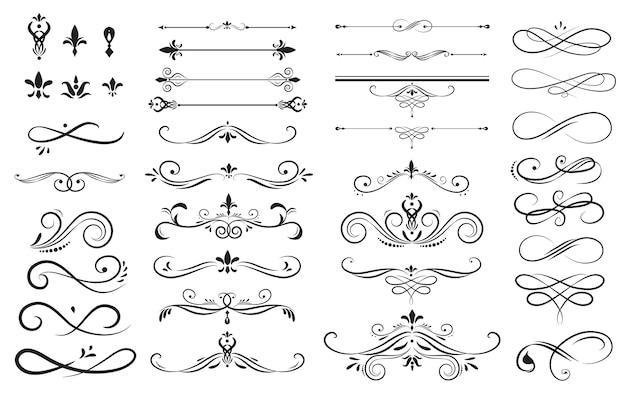 Zestaw Kolekcja Ornament Etykiety Premium Wektorów