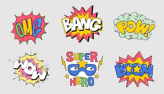 Zestaw Kolekcja Pakiet Emocji Komiks W Stylu Eksplozja Napis: Omg, Boom, Bang, Pow, Wow Ilustracja Kreskówka Doodle Do Nadruku Typografia Koszulka Ubrania Odzież Koszulka Plakat Znaczek Naklejka Przypinka Premium Wektorów