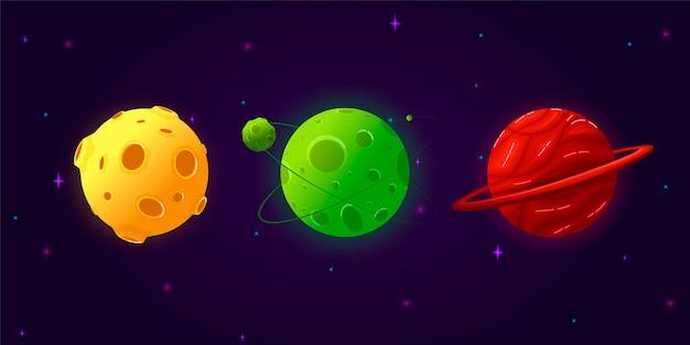 Zestaw Kolekcja Planet Kreskówek. Kolorowy Zestaw Na Białym Tle Obiektów. Planety Fantasy. Premium Wektorów