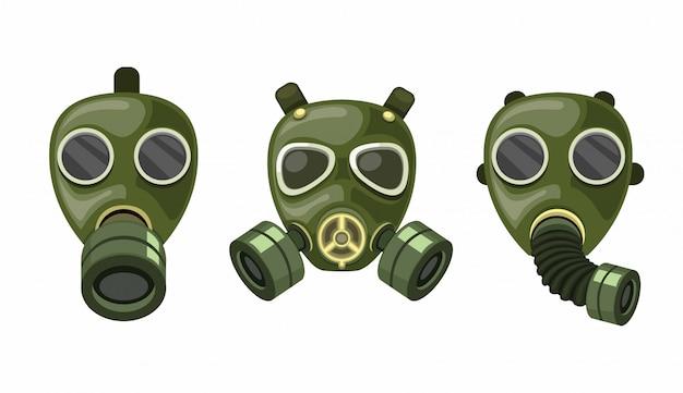 Zestaw Kolekcja Respiratora Z Maską Gazową Premium Wektorów