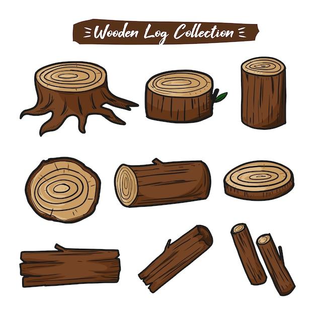 Zestaw Kolekcji Kłód Drewnianych Premium Wektorów