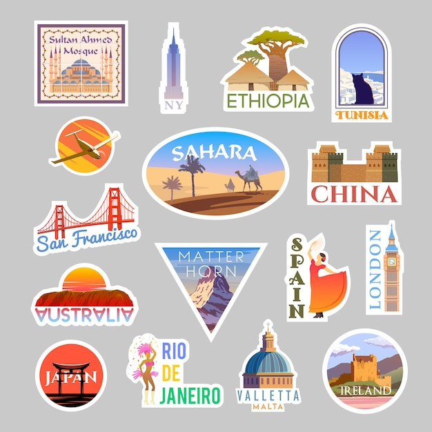 Zestaw Kolizyjnych Naklejek Podróżnych. Dookoła świata Premium Wektorów